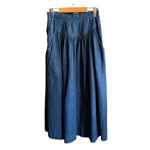Vintage 80s high waist denim midi A line skirt